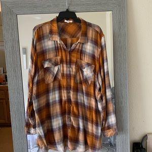 Plaid button down shirt, oversized tunic